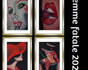 Wall Painting Original   from the series Femme fatale 2021   framed, behind glass   50 by 40 cm   Frank Xavier