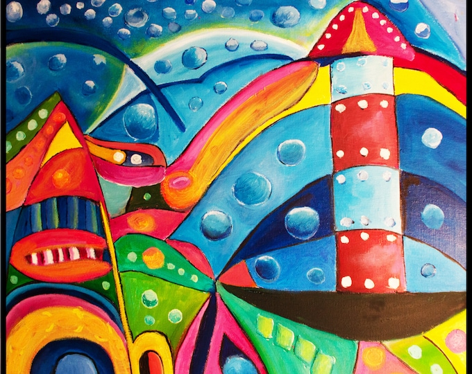 Featured listing image: Leuchturm / Lighthouse | Original painting @FrankXavier | Oil on canvas | 60 by 50 cm | Lighthouse abstract