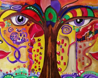 Tree of Life picture in acrylic (160 * 120 cm) - Frank Xavier Original, interchangeable image, 2 pictures in one