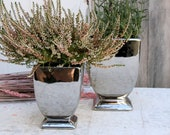 silver-coloured ceramic cup for flowers and plants 3 variants