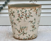 romantic flower pot made of ceramic with pretty flower vines and great antique finish 3 variants