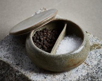 Olive-Grey Ceramic Salt & Pepper Cellar, Herb cellar, Cooking cellar / IN STOCK
