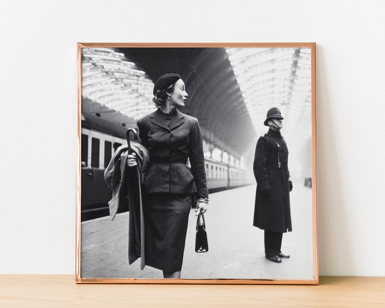 Vintage Photography \u2022 Black And White Art \u2022 Female Fashion Model \u2022 Harper/'s Bazaar Magazine \u2022 London England \u2022 Victoria Railroad Station