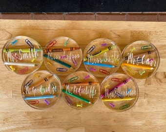 Resin crayon coaster/teacher coaster/stationary coaster/teacher gift