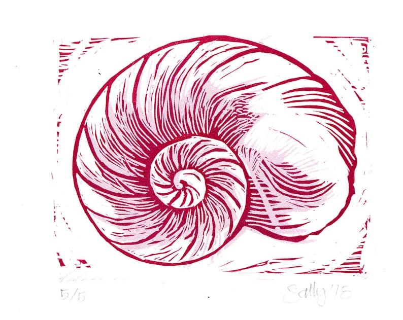 Lino Print Original Art Moon Shell