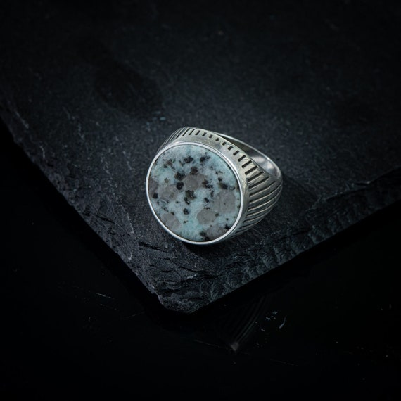 Gift For Husband Handmade ring Men oval gemstone Gemstone jewellery Kiwi ring Oxidized Sterling Silver Natural Gemstone Men/'s ring