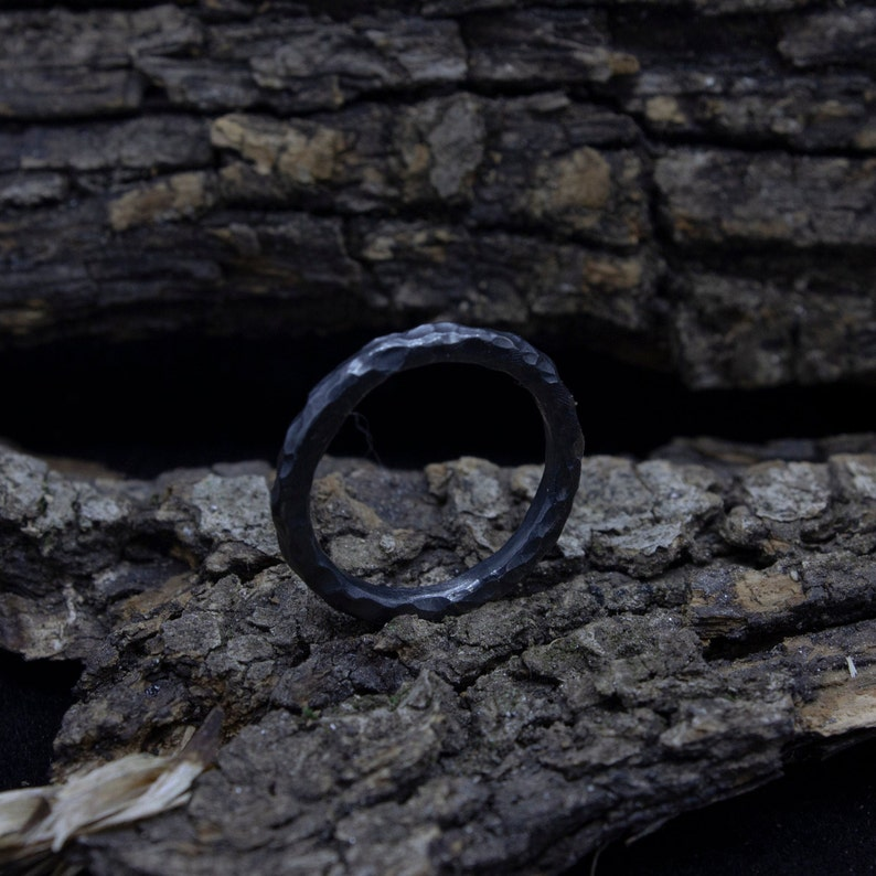 2mm Stackable Silver Ring Black 925 Sterling Silver Handcrafted Hammered Stack Stacking Band Ring by Pellada