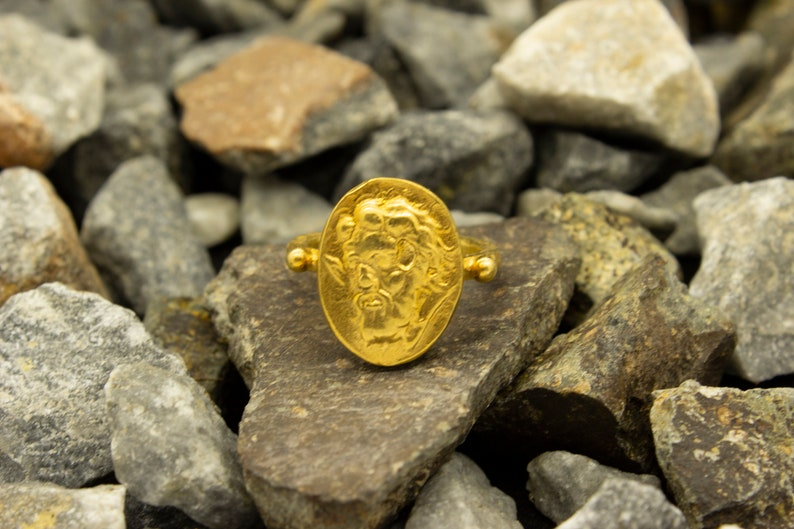 Ancient Roman Greek Art Signed Coin Ring 24K Gold Plated 925 Sterling Silver Ring Handcrafted Hammered Jewelry by Pellada