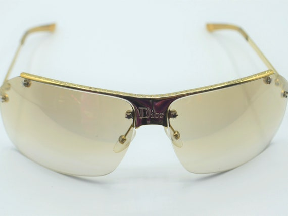 Dior squared sunglasses 2000s gold semi rimless w… - image 5