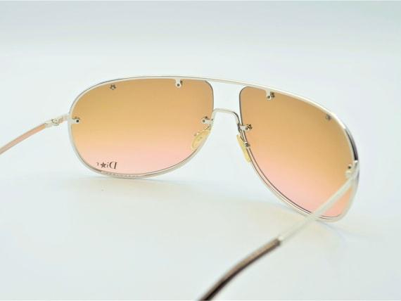 Dior aviator 2000s sunglasses wraparound silver m… - image 5