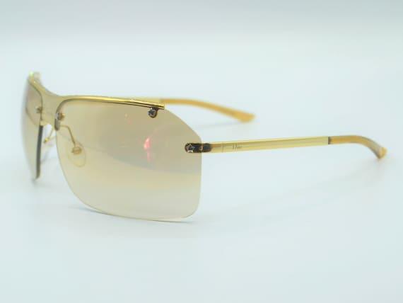 Dior squared sunglasses 2000s gold semi rimless w… - image 2