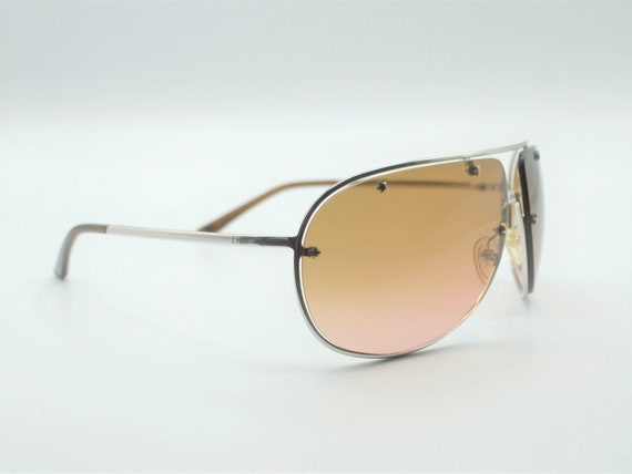 Dior aviator 2000s sunglasses wraparound silver m… - image 4