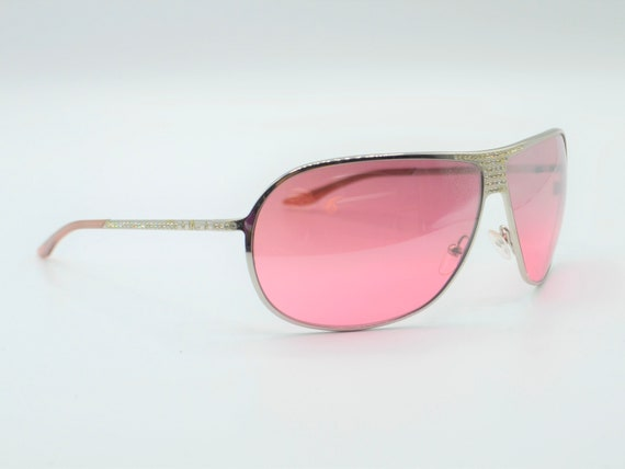 2000s sunglasses Dior drop with rhinestones pink … - image 7