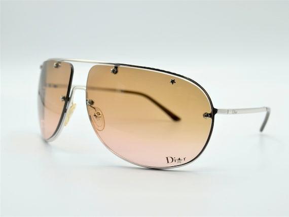 Dior aviator 2000s sunglasses wraparound silver m… - image 2