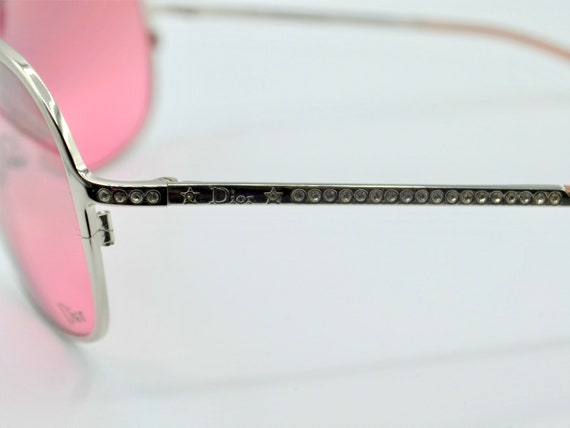 2000s sunglasses Dior drop with rhinestones pink … - image 8