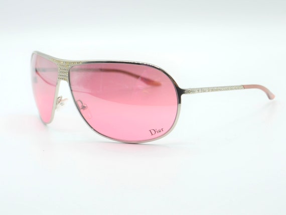 2000s sunglasses Dior drop with rhinestones pink … - image 6