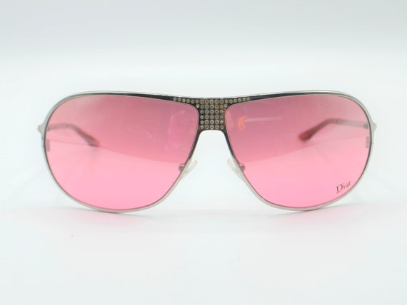 2000s sunglasses Dior drop with rhinestones pink … - image 2