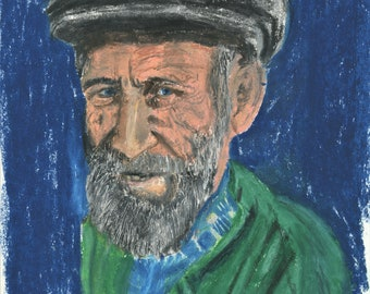 Old Man in Grey Cap and Green Sweater, Oil Pastel Portrait - Digital Download