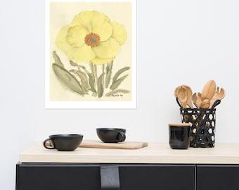 "Matte Poster Print of Original Watercolor Painting - ""Poppy Plant"""