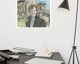 Sherlock - Benedict Cumberbatch, colored pencil and charcoal - Matte Poster