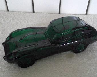Vintage Avon Jaguar Green Car Glass Bottle Cologne Aftershave Decanter