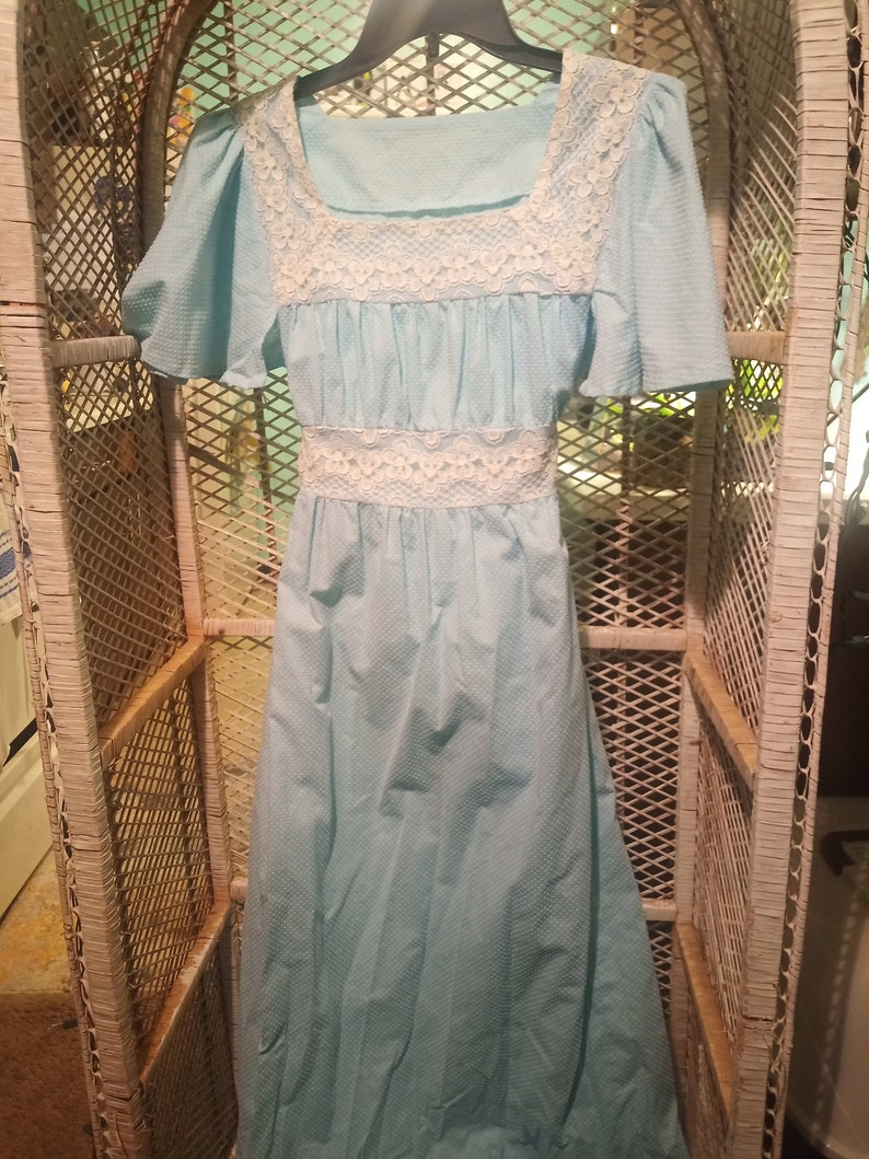 Vintage Baby Blue Textured Dress Modest Fit and Flare Floor Length
