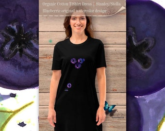Original watercolor Gris design for LovingNatureza The perfect gift for nature lovers Fig organic cotton t-shirt dress