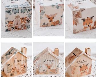 money box, money box with name, money box children, money box baptism, money box forest animals, baby gift, children's room decoration, wood money box, piggy bank