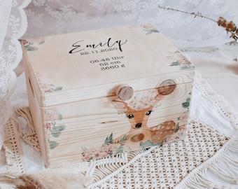 Memory Box, Memory Box, Personalized Reminder Box,Reminder Box Deer, Storage Box Baby,Baby Room,Memory Box Boho