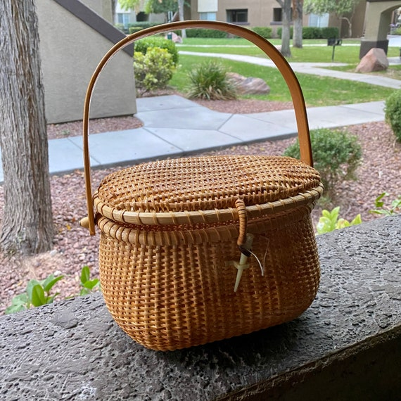 Vintage Wicker Basket Purse - image 1