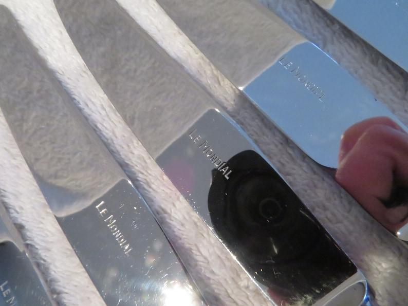 12 couteaux à dessert métal argenté (lame inox) orfèvre LeMondial mod Régence (French silver-plated dessert knives)