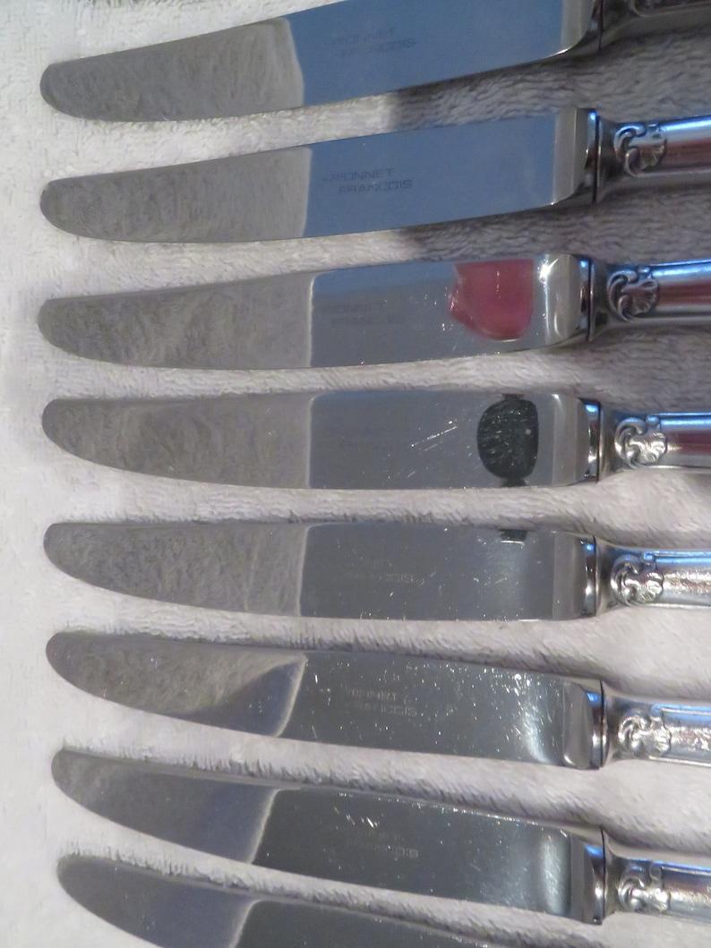 12 couteaux à dessert métal argenté orfèvre François Fionnet st rocaille modèle Dubarry (French silver-plated dessert knives)