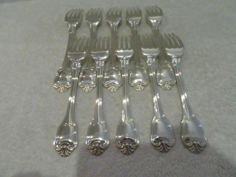 10 fourchettes de table métal argenté style Louis XIV orfèvre Christofle mod Port Royal (French silver-plated dinner forks)