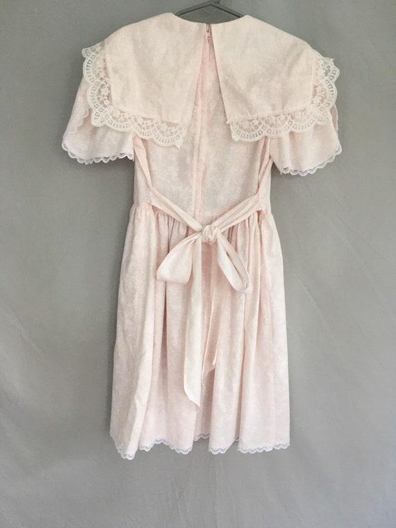Girls pink Gunne Sax dress with lace bib, vintage… - image 5