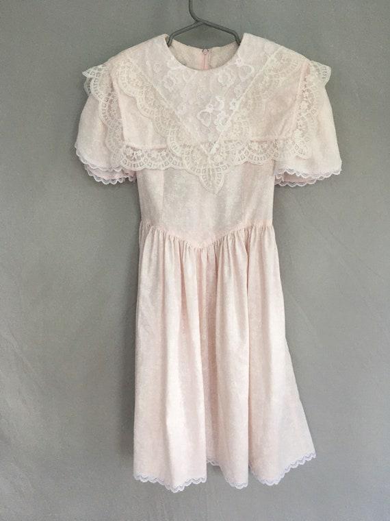 Girls pink Gunne Sax dress with lace bib, vintage… - image 2