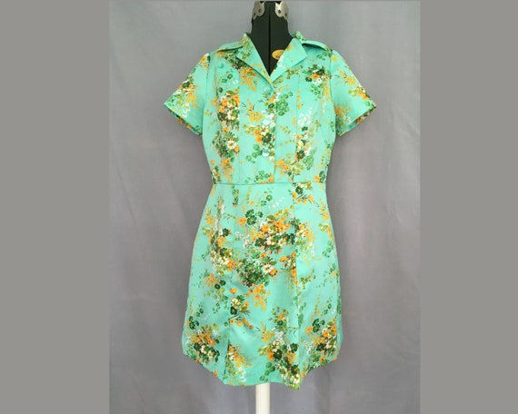 Blue Green Floral Polyester Dress Housecoat