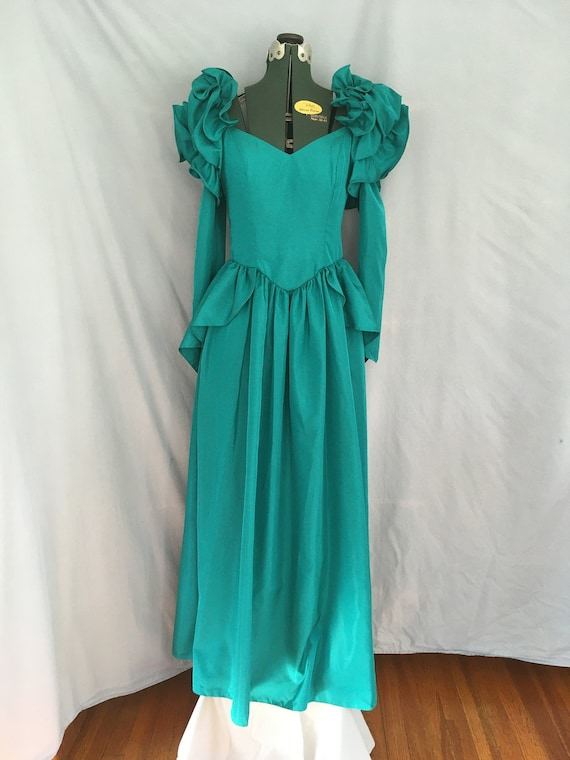 Emerald Green 1980's Bridesmaid Prom Dress