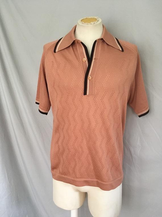 Mens short sleeved brown sweater, mens casual bro… - image 2