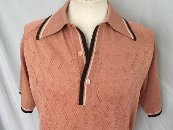 Mens short sleeved brown sweater, mens casual bro… - image 3