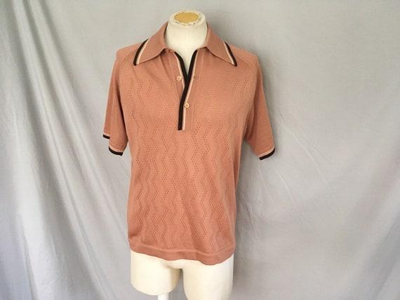 Mens short sleeved brown sweater, mens casual bro… - image 1