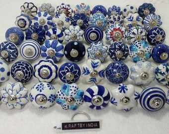 Assorted Blue and White Mixed Ceramic Knobs Kitchen Cabinet Drawer Knobs Cupboard Knobs Drawer Knobs Hardware Knobs Drawer Pulls