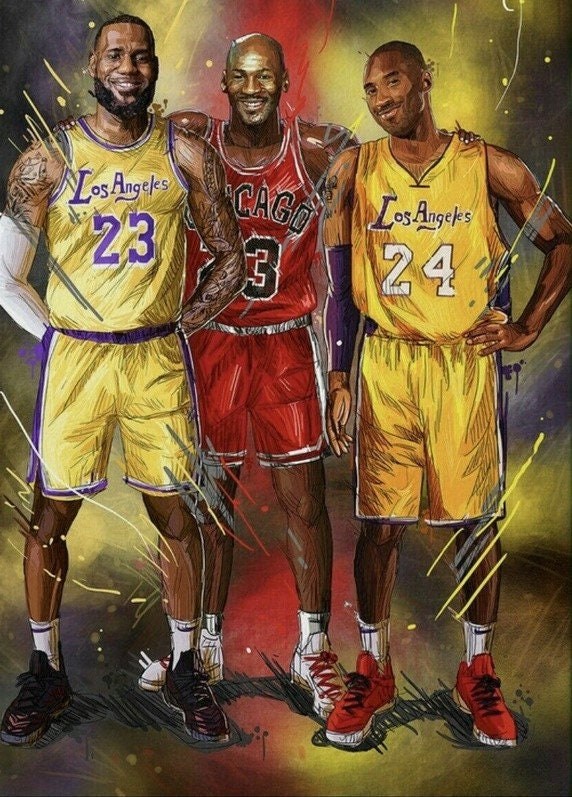 KOBE BRYANT, Jordan And James Tribute Poster, Mamba Lakers NBA Hall Of Fame All Star Los Angeles Goat Poster