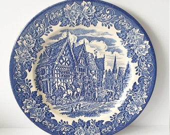 Ironstone Blue and White Dinner Plate, Ironstone Plate, English Blue and White China, Coach and Horses Plate, Blue and White Ironstone Plate