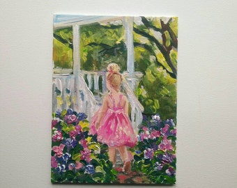 Morning  Original Acrylic Painting in gentle colours with little girl in the Field with chamomile Best Gift idea Home decor