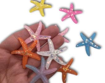 3pcs Sparkly Mermaid Glitter Starfish Flatback Cabochons Embellishment Craft
