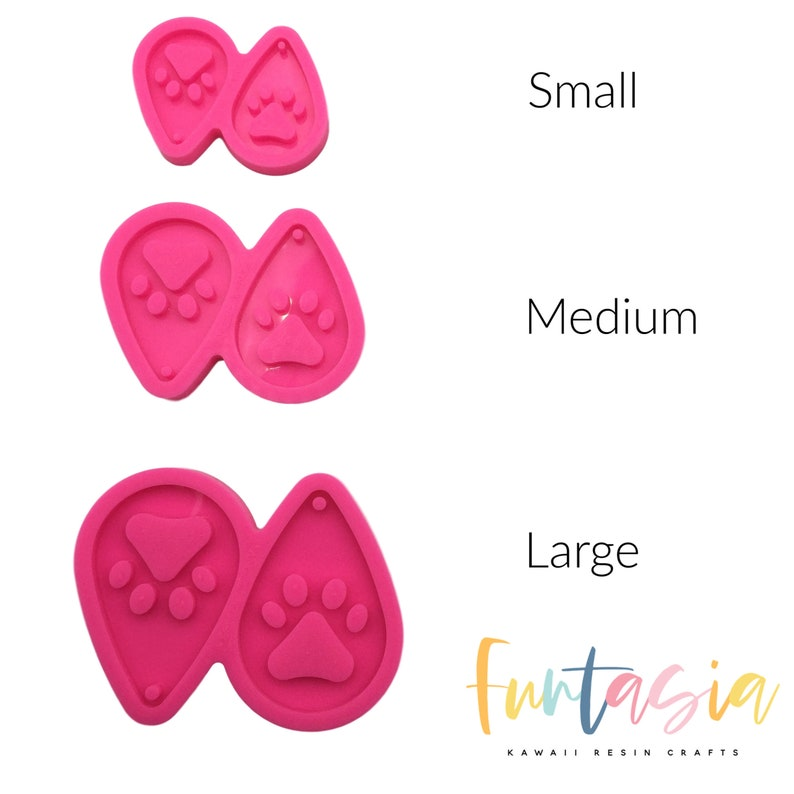 Shiny Silicone Molds for Epoxy Crafts Epoxy Resin Jewelry Making Supplies Resin Craft Molds Dog Paw Shiny Teardrop Earring Mold