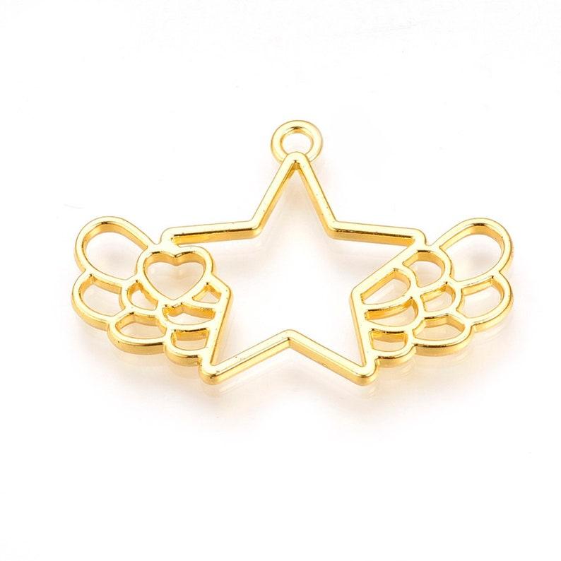 2 Gold Star with Wings Open Bezel Pendant Alloy Open Back Bezel Pendants Resin Bezels DIY UV Resin