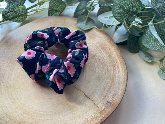Navy and Pink Flower Scrunchie | Floral Scrunchie | Navy Scrunchie | Pink Flower Scrunchie