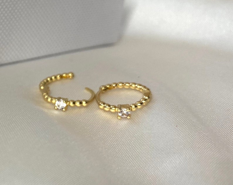 Dainty small tiny mini crystal Charm Huggie pendant Hoops cubic zirconia gemstone Bridal Bridesmaid round ring Earrings Gold Plated