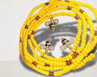 Orisha Waist Beads African Goddess Waist Beads Osun Belly Chain Oshun-Honey-Peacock-Handmirror-Dragonfly Waistbeads Oshun Waist Beads